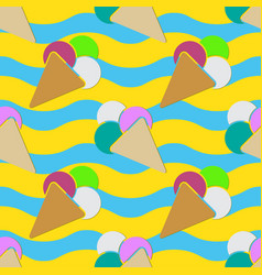 Seamless - ice cream and color scoops vector