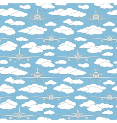 Seamless pattern with passenger airplanes 05 vector