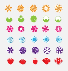 set bright flower stickers vector image