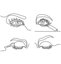 Set continuous woman eye make up logo vector