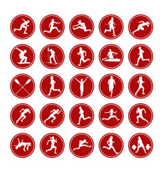 Set icons real athletes vector