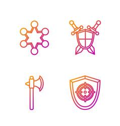 Set line target sport medieval axe police badge vector