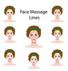 Set of face massage vector