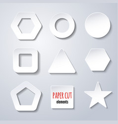 set of paper cut geometric figures on white vector image