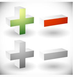 Set of plus minus add remove signs symbols or vector