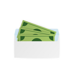 Some dollar bills in white envelope send money vector