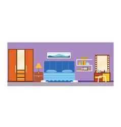 Student school dorm bedroom interior vector