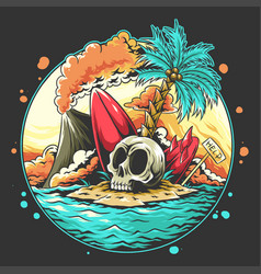 summer skull head on beach with a broken surf vector image