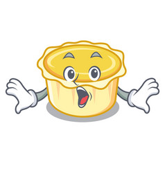 Surprised egg tart mascot cartoon vector