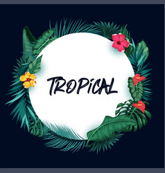 tropical forest background with round paper vector image