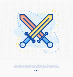 two crossed swords thin line icon vector image