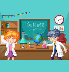 Two young scientists doing chemistry experiment vector