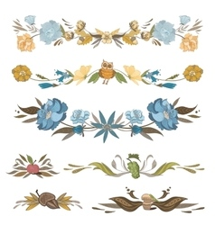 Vintage Floral Vignettes Set vector image