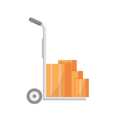 warehouse cart with delivery boxes icon vector image