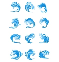 Waves water splashes isolated icons vector