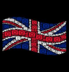 waving british flag pattern of photo camera items vector image