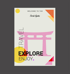 Welcome to torii gate itsukushima japan vector