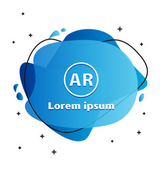 White ar augmented reality icon isolated on white vector