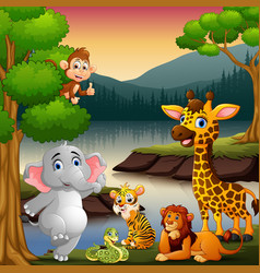 Wild animals are enjoying nature by the lake vector