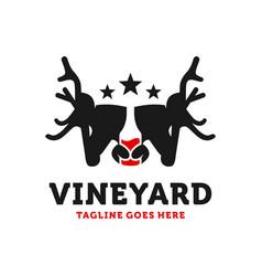 wine bottle and deer head logo vector image