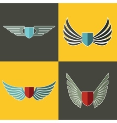 Wings logo for company on yellow and brown vector image
