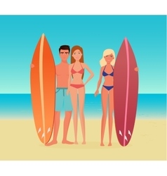 young cartoon surf group people guy man and vector image