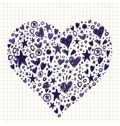 Abstract Background with Hearts and Stars Shapes vector image
