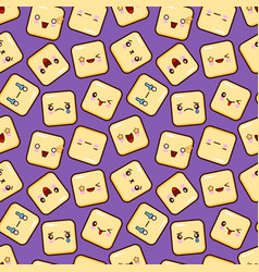 cute smiley face seamless pattern background vector image vector image