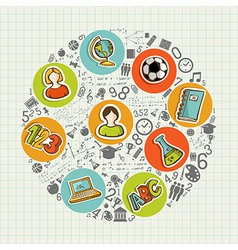 Education back to school colorful social icons vector image vector image