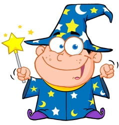 Wizard Boy Waving With Magic Wand vector image
