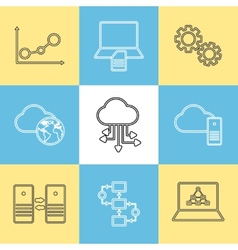 Data storage data analysis and transfer icons vector image vector image
