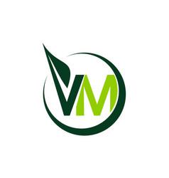Green project solution letter v m vector