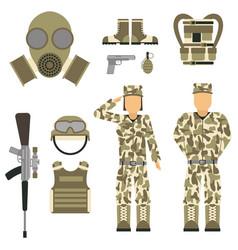 military character weapon guns symbols armor man vector image