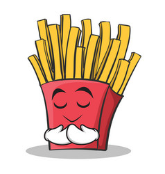 praying face french fries cartoon character vector image vector image