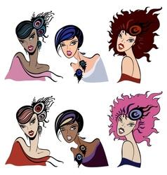 Set of beautiful vintage women vector image vector image