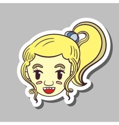 Smiling Girl Sticker vector image