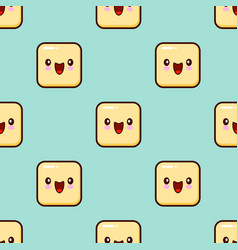 yellow smile face seamless pattern background cute vector image vector image