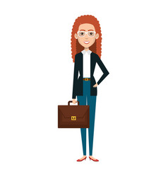 businesswoman with portfolio avatar character icon vector image