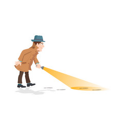 detective holding a flashlight vector image