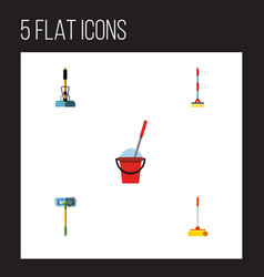 Flat icon mop set of sweep bucket besom and vector