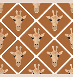seamless pattern with giraffes rhombuses on beige vector image