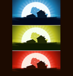 set of ranch house in wild country landscape vector image