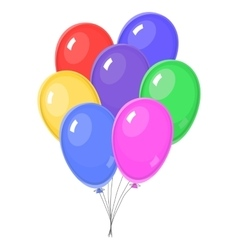 Seven colorful balloons vector