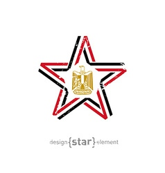 star with Egypt flag colors symbols and grunge vector image vector image