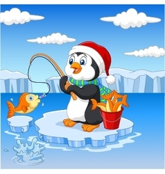 Cartoon penguin fishing on the ice vector image vector image