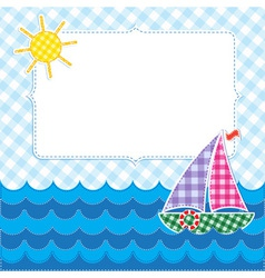 Frame with colorful sailboat vector image