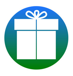 gift sign white icon in bluish circle on vector image