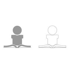 man reading book set icon vector image vector image