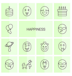 14 happiness icons vector