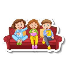 A sticker template with three children sitting vector